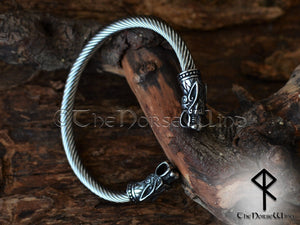 Viking Bracelet Fenrir Wolf Men's Bangle Silver Solid Bjorn Torque TheNorseWind
