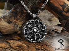 Load image into Gallery viewer, Helm of Awe Viking Necklace - Aegishjalmur Silver Pendant - TheNorseWind