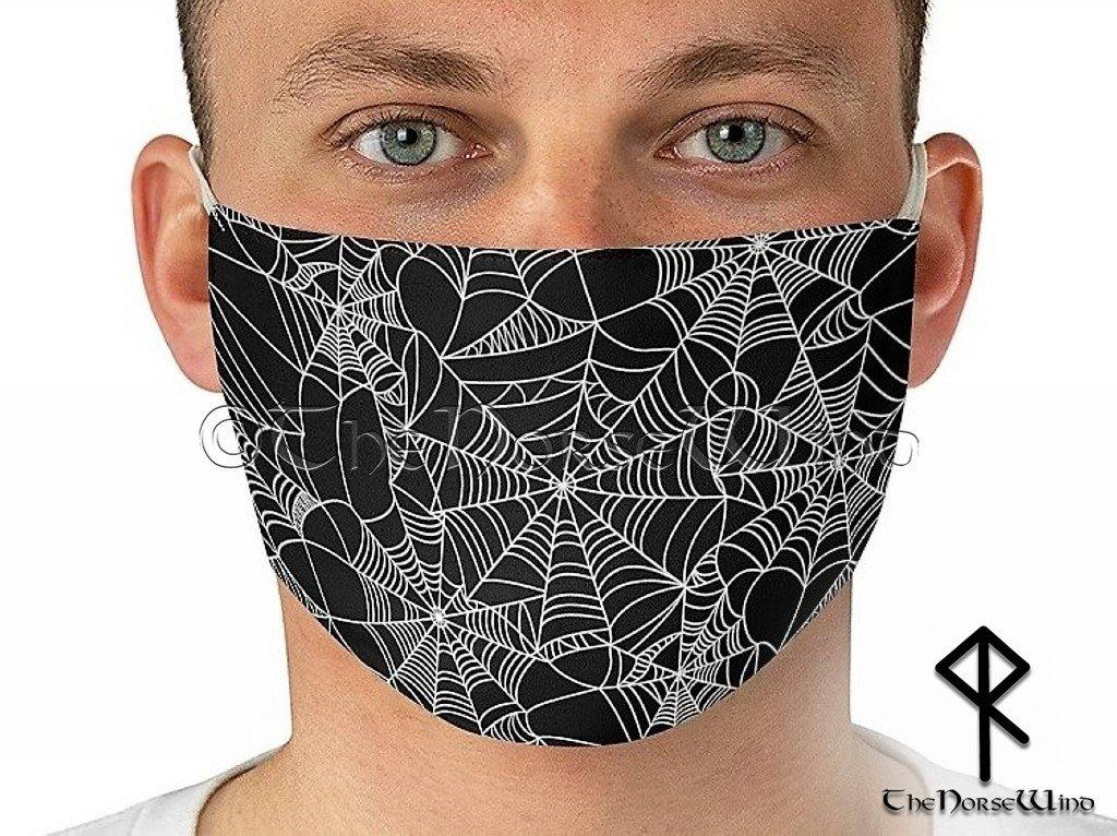 Goth Face Mask - Spider Web Face Mask Halloween Cover, Black Unisex Mask - TheNorseWind