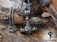 Load image into Gallery viewer, Viking Mjolnir Necklace - Stainless Steel Thor's Hammer Pendant - TheNorseWind