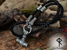 Load image into Gallery viewer, Personalized Thor's Hammer Mjolnir Necklace, Solid Viking Rune Dragon Heads Pendant TheNorseWind
