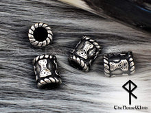 Load image into Gallery viewer, Thor's Hammer Viking Beard Beads, Mjolnir Steel Hair Rings TheNorseWind
