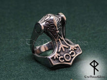 Load image into Gallery viewer, Thor's Hammer Ring, Viking Mjolnir Odin Ring - TheNorseWind