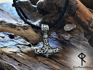 Viking Mjolnir Necklace - Stainless Steel Thor's Hammer Pendant - TheNorseWind