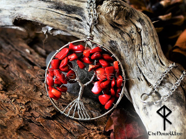 Tree of Life Red Coral Necklace, Yggdrasil Crystal Pendant, Wiccan Gift - TheNorseWind