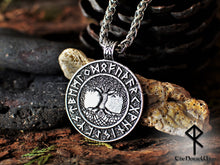 Load image into Gallery viewer, Viking Runes Yggdrasil Necklace, Tree of Life Silver Pendant TheNorseWind