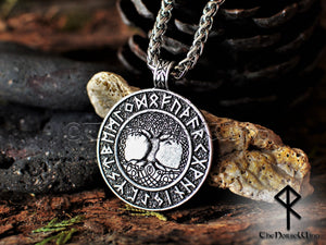 Viking Runes Yggdrasil Necklace, Tree of Life Silver Pendant TheNorseWind