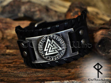 Load image into Gallery viewer, Valknut Viking Leather Bracelet