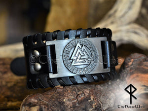 Viking bracelet Valknut Odin Black Leather Wristband