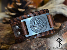 Load image into Gallery viewer, valknut viking bracelet leather cuff odin symbol thenorsewind