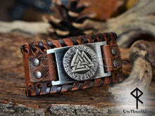 Load image into Gallery viewer, Viking Bracelet Valknut Brown Leather Wristband