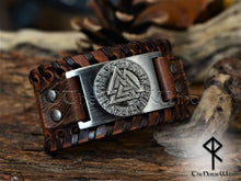Load image into Gallery viewer, Valknut Bracelet Brown Leather Cuff wristband TheNorseWind