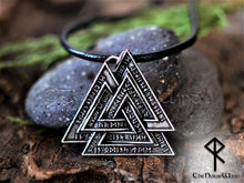 Load image into Gallery viewer, valknut viking necklace runes pendant odin symbol thenorsewind