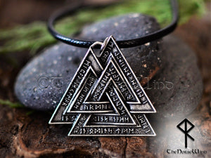 Valknut Viking Necklace with Norse Runes - Silver Odin's Pendant - TheNorseWind