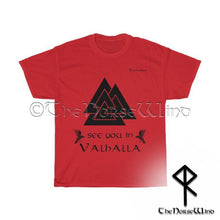 Load image into Gallery viewer, Vikings T-Shirt Valknut - See You In Valhalla Tee Unisex S-5XL / Black Print - TheNorseWind