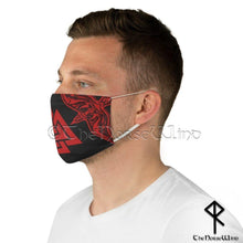 Load image into Gallery viewer, Valknut Viking Face Mask, Norse Warriors Reusable Fabric Face Cover with Odin's Ravens