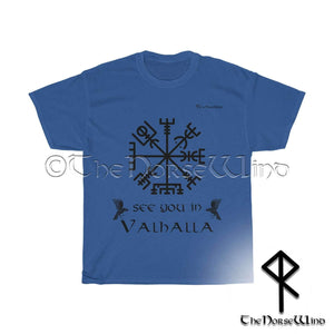 Viking Compass Vegvisir T-Shirt Black Print - See You In Valhalla Tee Unisex S-5XL - TheNorseWind
