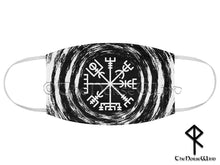 Load image into Gallery viewer, Vegvisir Face Mask, Viking Compass Double Layer Reusable Face Cover in Black - TheNorseWind
