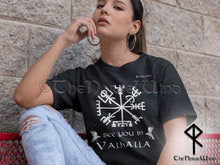 Load image into Gallery viewer, Viking Compass Vegvisir T-Shirt Black Print - See You In Valhalla Tee Unisex S-5XL - TheNorseWind