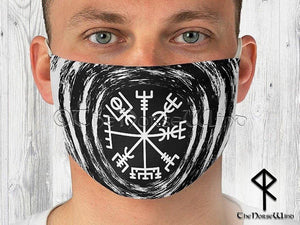 Vegvisir Face Mask, Viking Compass Double Layer Reusable Face Cover in Black - TheNorseWind