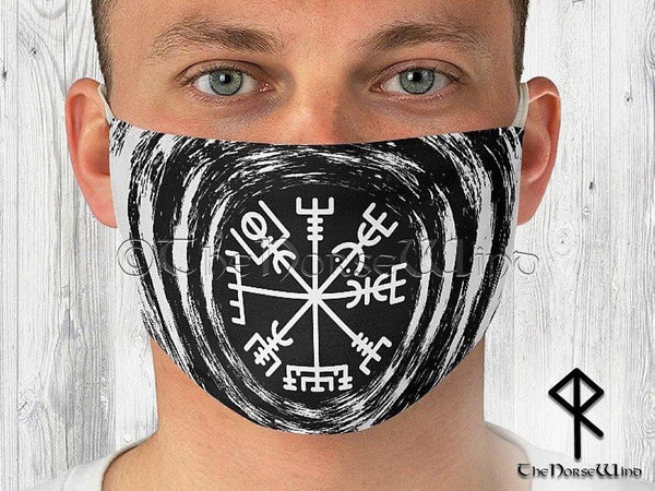 Vegvisir Face Mask, Viking Compass Double Layer Reusable Face Cover in Black