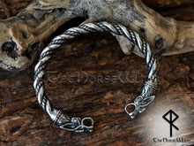Load image into Gallery viewer, Viking Wolf Bracelet Silver Fenrir Arm Ring - TheNorseWind