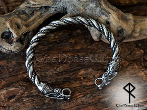 Viking Wolf Bracelet Silver Fenrir Arm Ring - TheNorseWind