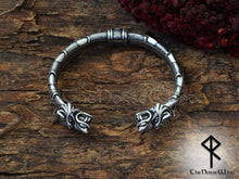 Load image into Gallery viewer, Viking Fenrir Wolf Bracelet Celtic Knots Arm Ring