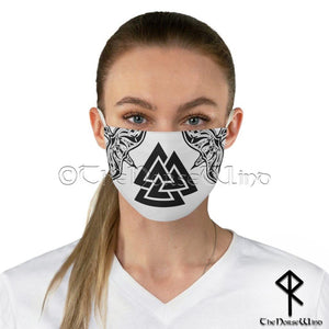 Viking Face Mask with Valknut Symbol and Twin Ravens, White