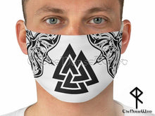 Load image into Gallery viewer, Viking Face Mask with Valknut Symbol and Twin Ravens, White