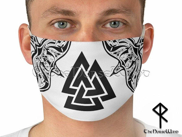 Viking Face Mask with Valknut Symbol and Twin Ravens, White - TheNorseWind