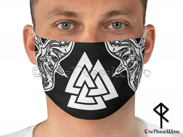 Viking Face Mask with Valknut Symbol and Twin Ravens, Black - TheNorseWind