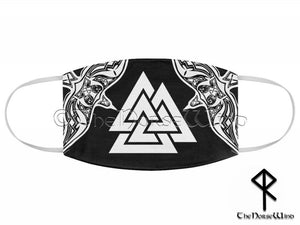 Viking Face Mask with Valknut Symbol and Twin Ravens, Black