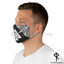 Load image into Gallery viewer, Viking Face Mask with Valknut Symbol and Twin Ravens, Black