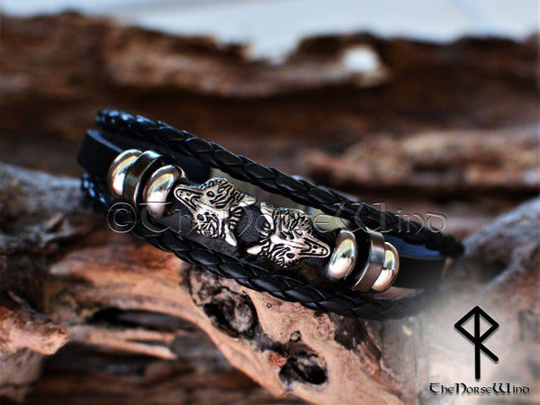 Viking Leather Bracelet - Fenrir Wolf - TheNorseWind