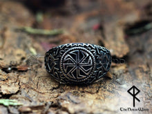 Load image into Gallery viewer, Viking Kolovrat Ring Slavic Sun Wheel Silver Runes Amulet - TheNorseWind