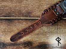 Load image into Gallery viewer, Viking Leather Bracelet Valknut Brown - TheNorseWind