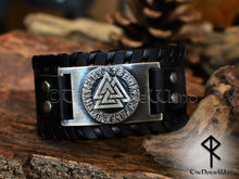 Load image into Gallery viewer, Viking Bracelet Valknut Black Leather Wristband