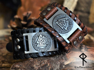 Valknut Viking Leather Wristband Black Brown