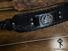 Load image into Gallery viewer, viking Leather Bracelet Valknut Valhalla wristband mens black leather cuff-thenorsewind