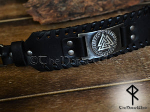 viking Leather Bracelet Valknut Valhalla wristband mens black leather cuff-thenorsewind