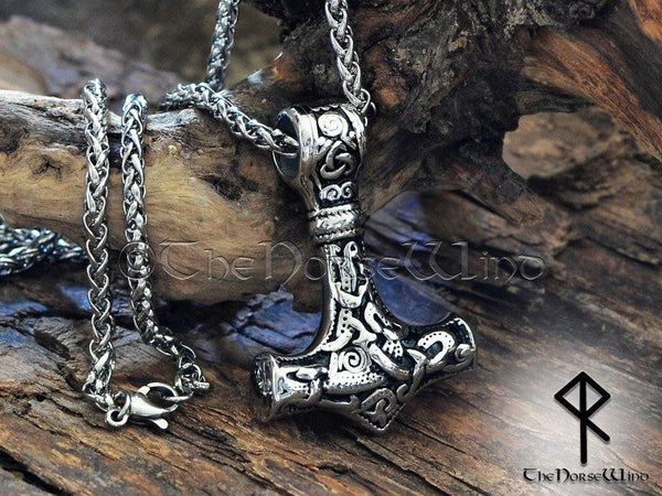 Viking Mjolnir Necklace - Stainless Steel Thor's Hammer Pendant