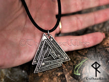 Load image into Gallery viewer, Valknut Viking Necklace with Norse Runes - Silver Odin's Pendant - TheNorseWind