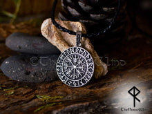 Load image into Gallery viewer, Vegvisir Viking Compass Silver Runes Necklace - TheNorseWind