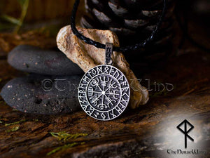 Vegvisir Viking Compass Silver Runes Necklace - TheNorseWind