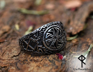 Viking Kolovrat Ring Slavic Sun Wheel Silver Runes Amulet - TheNorseWind