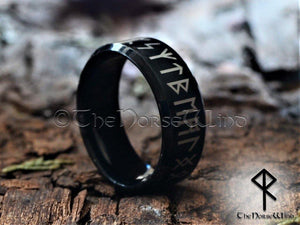 Viking Runes Ring - Black Stainless Steel - TheNorseWind