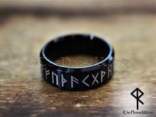 Load image into Gallery viewer, Viking Runes Ring - Black Stainless Steel - TheNorseWind