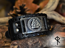 Load image into Gallery viewer, Viking Valknut leather bracelet runes cuff black-thenorsewind