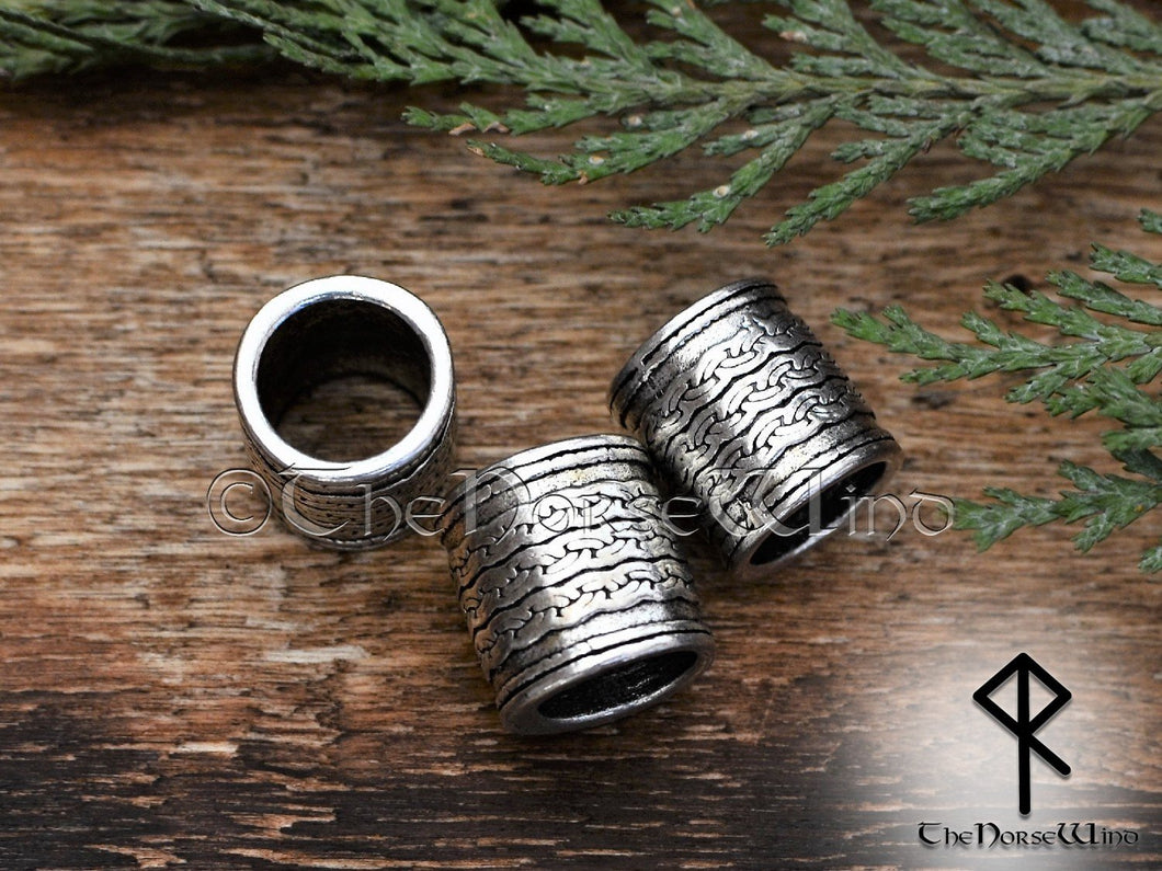 Viking Beard Beads, Silver Celtic Knot Hair Rings, Large Hole 10mm TheNorseWind